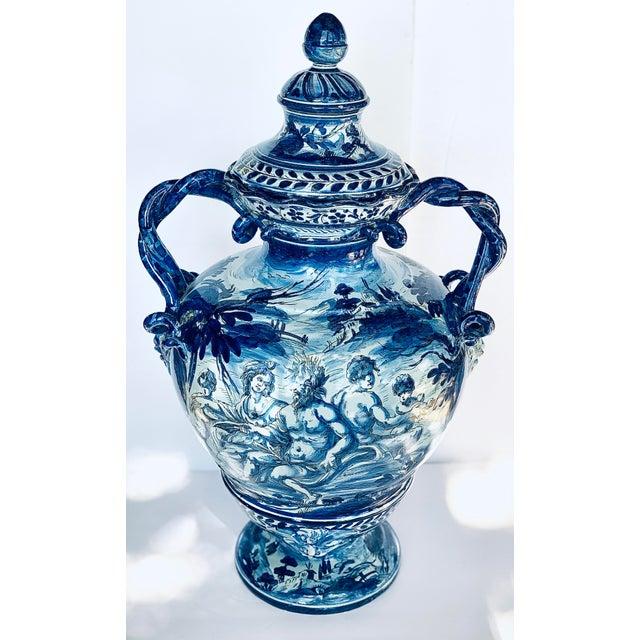 1800s Antique Cantagalli Italian Majolica Urn in Blue Tones For Sale - Image 11 of 11