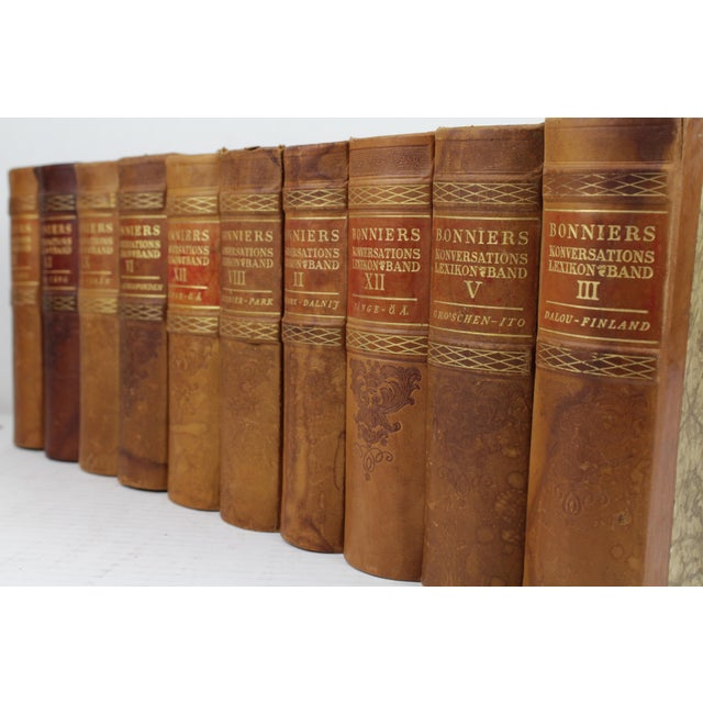 Art Deco Leather-Bound Books - Set of 10 - Image 4 of 4