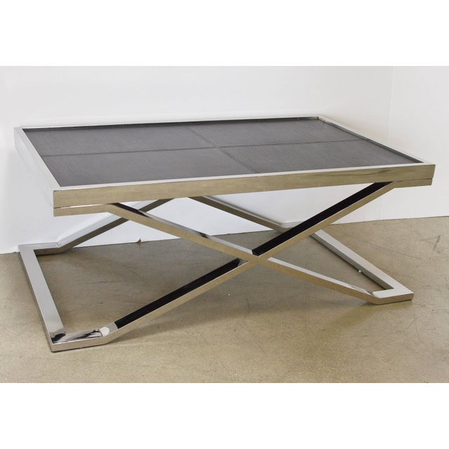 Fabio Ltd Black Leather and Stainless Steel Coffee Table by Fabio Ltd For Sale - Image 4 of 8