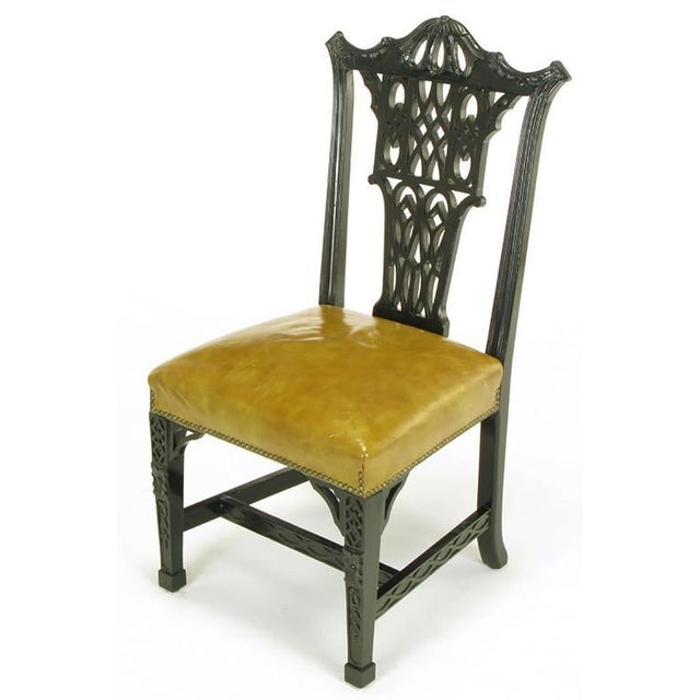 Eight Chinese Chippendale Ebonized Mahogany Dining Chairs with Leather Seats - Image 3 of 10