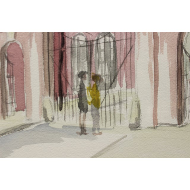 Watercolor Gated Courtyard Watercolor For Sale - Image 7 of 7