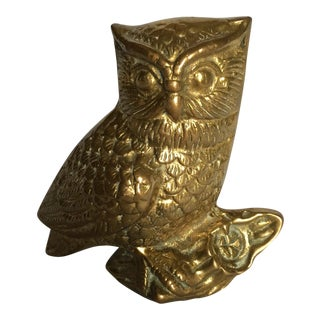 Heavy Brass Owl on Branch Figurine