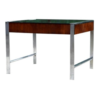 Milo Baughman Attributed Mid Century Smoked Glass, Chrome & Walnut Coffee Table For Sale