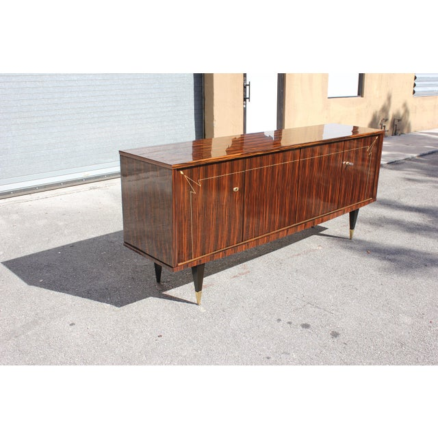 Metal 1940s French Art Deco Macassar Ebony Sideboard/Buffet For Sale - Image 7 of 13