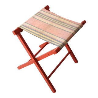 Vintage Stripe Canvas Folding Stool For Sale