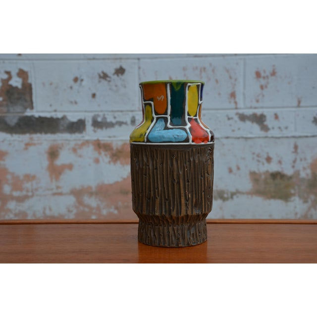 Bitossi for Raymor Mondrian & Wood Themed Vase For Sale - Image 9 of 10