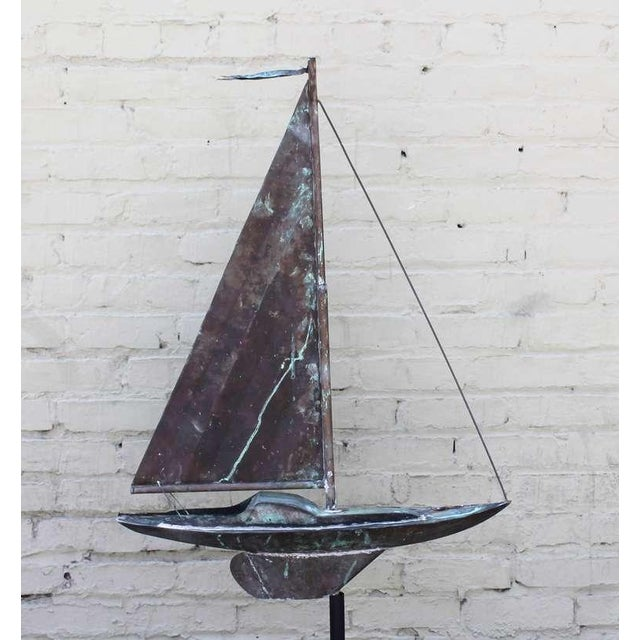 Folk Art 19th c. New England Folk Art Copper Sailboat Weather Vane For Sale - Image 3 of 8
