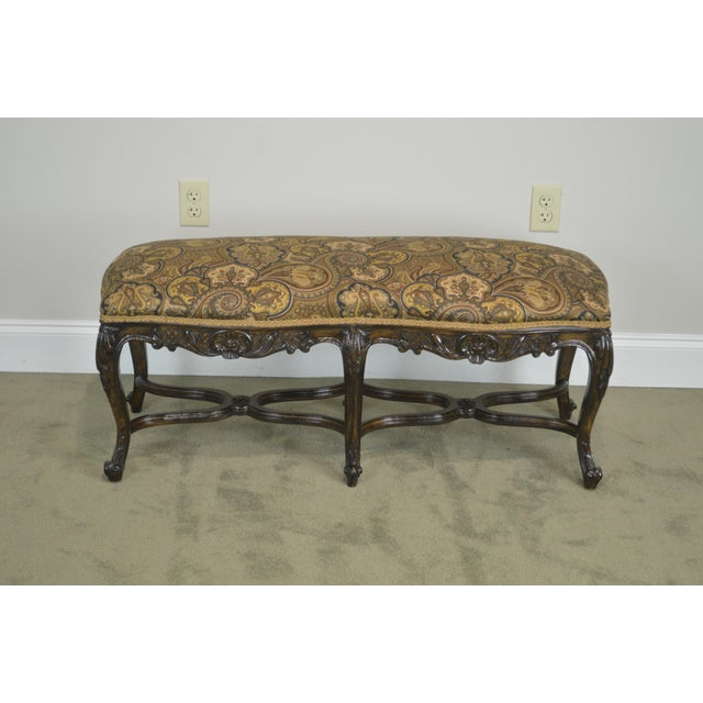 French Louis XV Style Carved Walnut Window Bench For Sale - Image 11 of 12