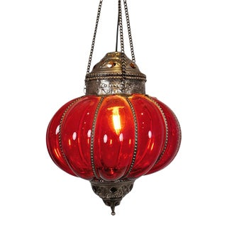 Vintage Red Pumpkin Lantern For Sale