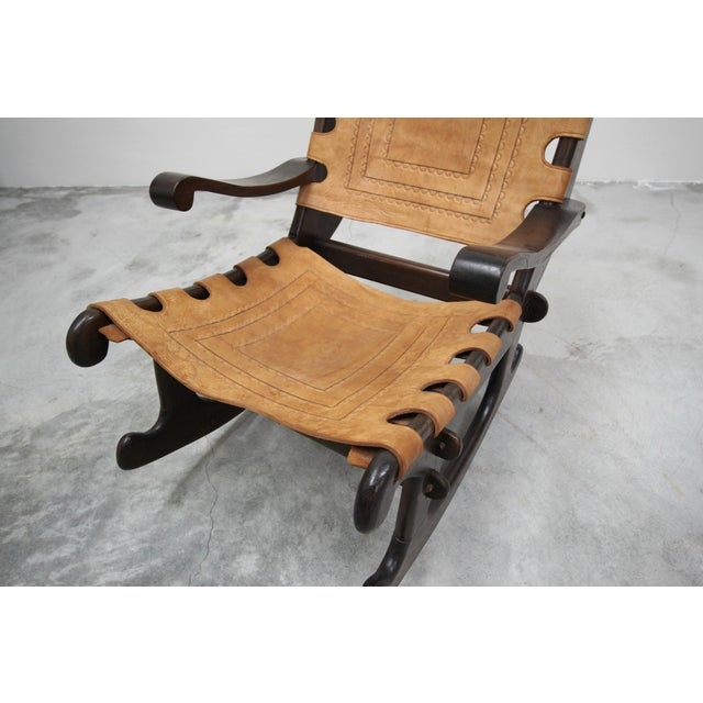 Primitive Style Leather and Wood Rocking Chair Made in Ecuador by Angel Pazmino For Sale - Image 4 of 6