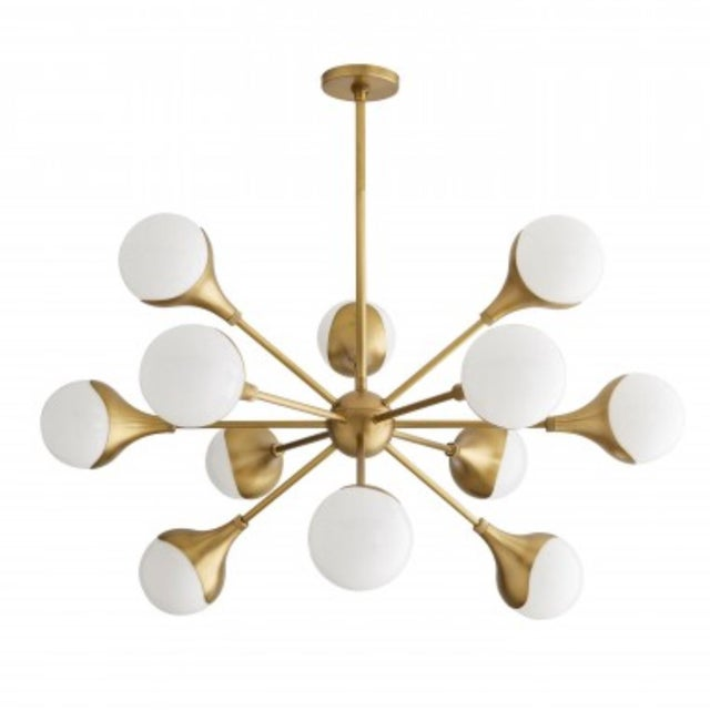 Arteriors Mid-Century Modern Inspired Antique Brass Finished Augustus Chandelier For Sale In Atlanta - Image 6 of 6