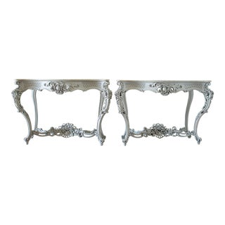 19th C. Marble Top Painted French Console Tables - A Pair For Sale