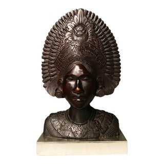 Late 20th Century Balinese Female Wooden Bust For Sale