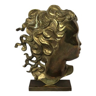 Vintage Werkstätten Hagenauer Brass Bust of Young Woman For Sale
