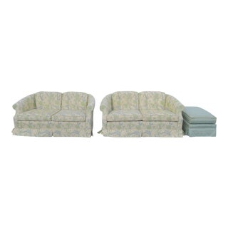 Ethan Allen Hollywood Regency Loveseats Settees and Ottoman 2110 - a Pair For Sale