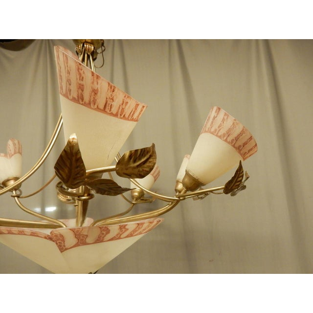 Art Nouveau Vintage 1950's French Eight Light Chandelier For Sale - Image 3 of 9