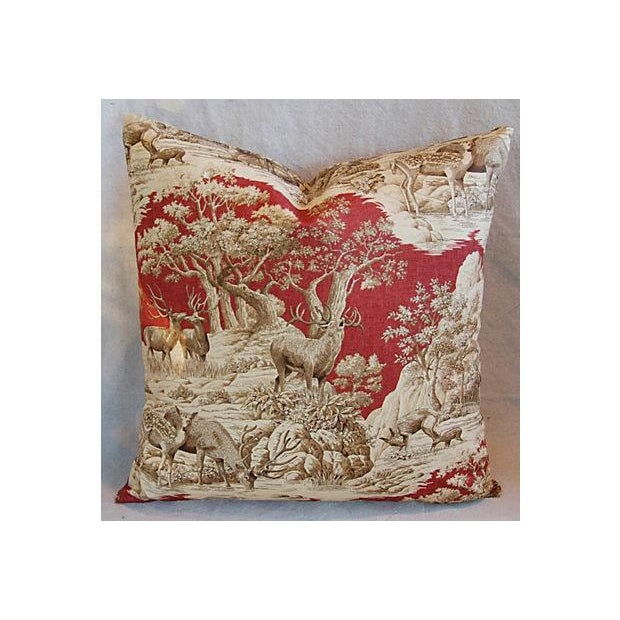 Custom French Woodland Deer Toile Pillows - Pair - Image 4 of 8