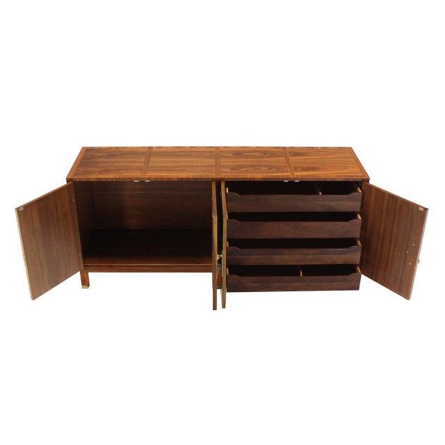 Baker Mid-Century Modern Long Walnut Dresser Brass Hardware Pulls For Sale In New York - Image 6 of 8