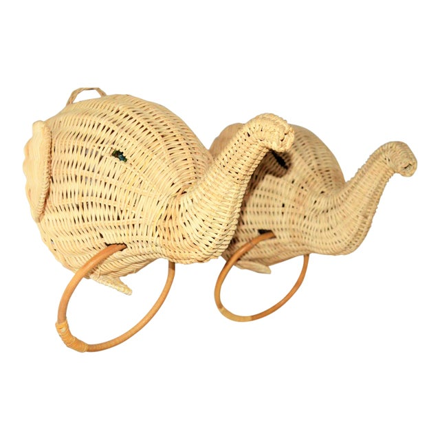 Elephant Wall Mount Wicker Towel Rings - a Pair For Sale