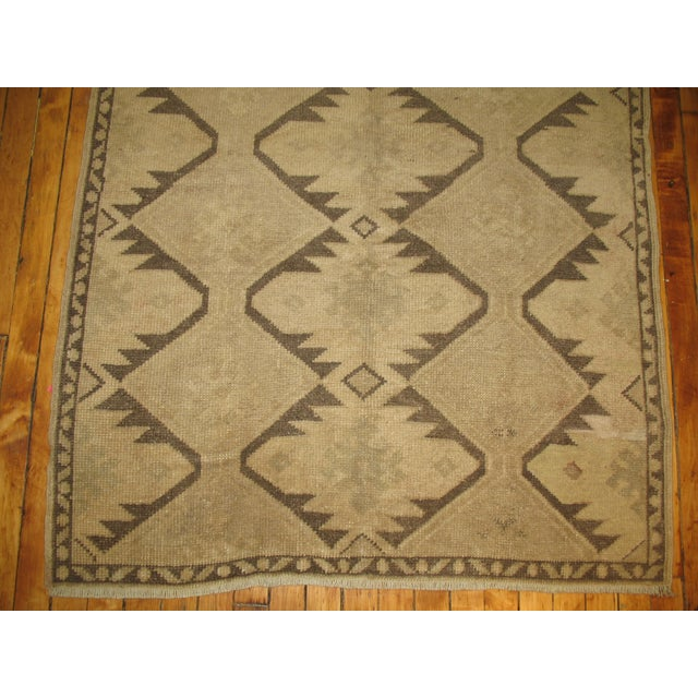 Vintage Turkish Geometric Runner - 3'6'' X 6'10'' For Sale - Image 4 of 4