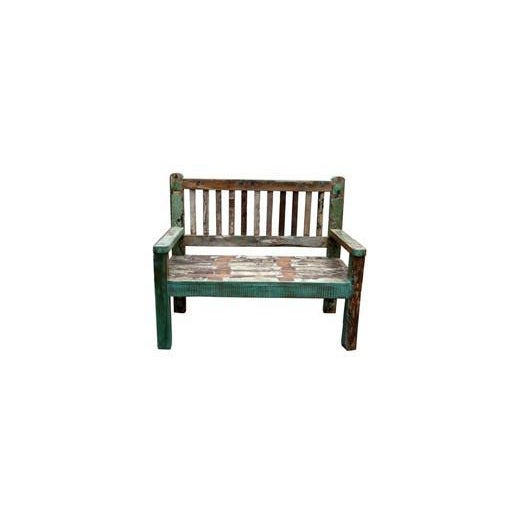 Reclaimed Teak Petite Painted Bench For Sale - Image 4 of 5