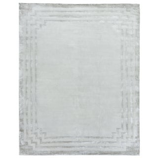 Deza Ivory/Brown Hand loom Wool/Viscose Area Rug - 6'x9' For Sale