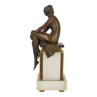 Seated Nude Woman Bronze Art Deco Era Figure on Marble Pedestal For Sale