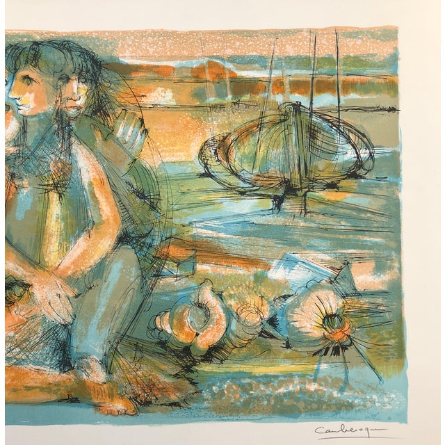 Figurative 1960s Jean Camberoque French Beach Lithograph For Sale - Image 3 of 12