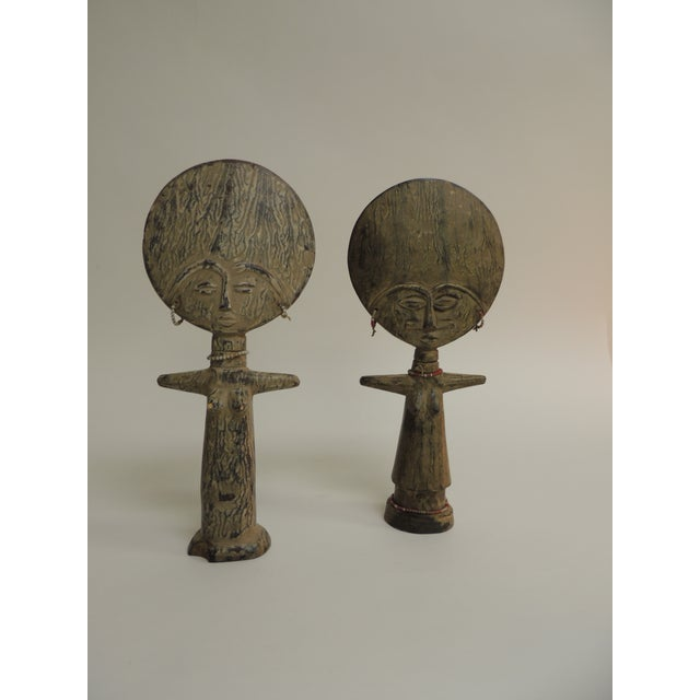 Glass Akua'ba Fertility Dolls With Glass Beads Adornments For Sale - Image 7 of 7