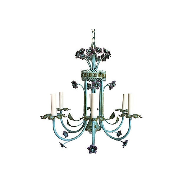 Italian Mid-Century Italian Floral Chandelier For Sale - Image 3 of 8