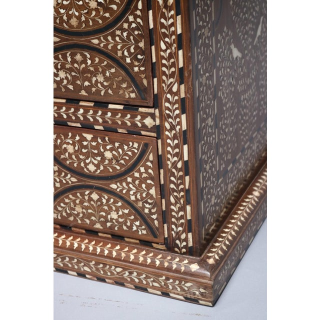 1920s Teak Wood and Bone Inlay Chest of Drawers For Sale - Image 5 of 7