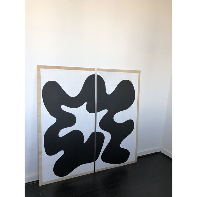 Abstract Black and White Diptych 1 For Sale - Image 3 of 9