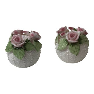 Petite Pair of Small Bone China Sea Urchin Salt and Pepper Shakers For Sale