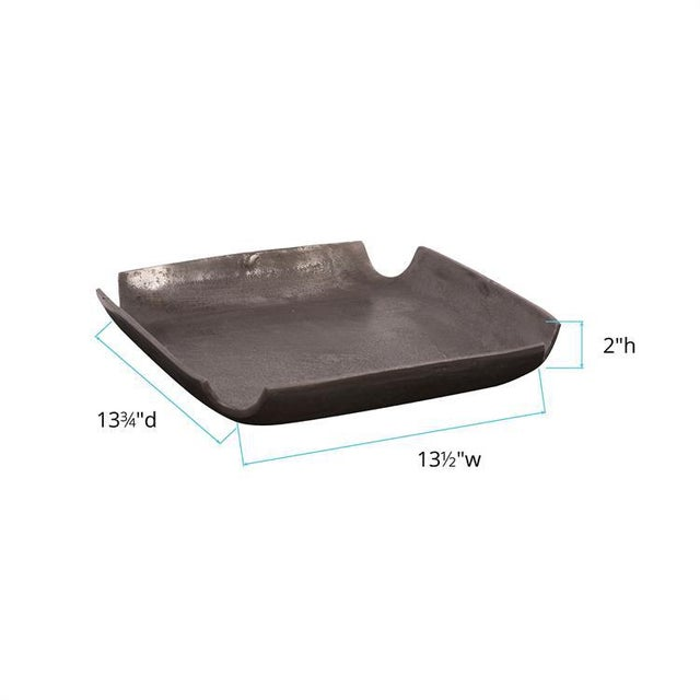 Kenneth Ludwig Chicago Kenneth Ludwig Graphite Aluminum Tray With Notched Corners For Sale - Image 4 of 5