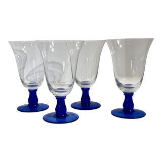 Hand Blown Mexican Style Clear & Royal Blue Balled Stem Wine / Water/ Glasses - Set of 4 For Sale