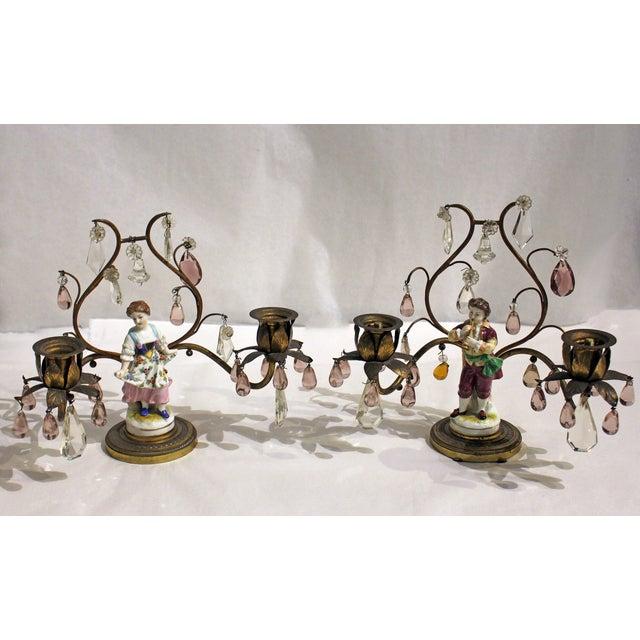 A pair of double light candelabras, electrified, French gilt bronze, porcelain & crystal. Dancer & musician. 1891-1911 mark.