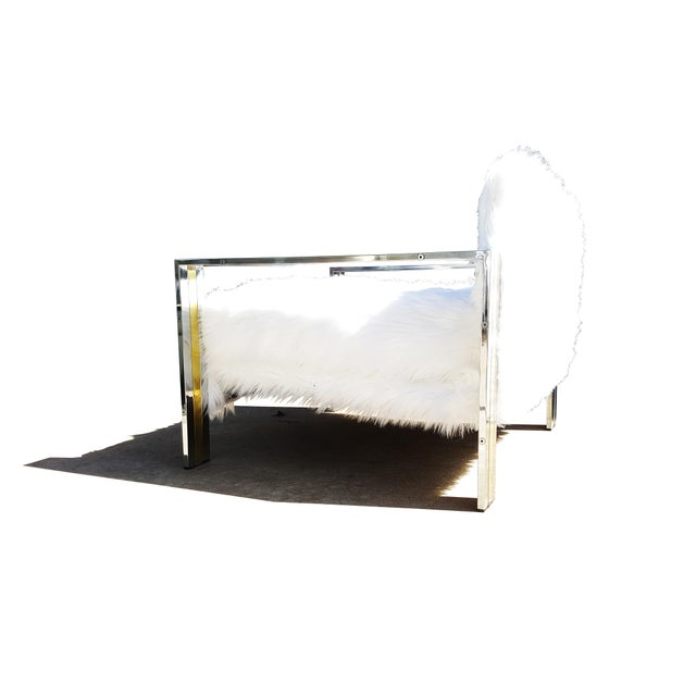 Brass & Chrome Faux Sheepskin Armchair For Sale In Portland, ME - Image 6 of 8