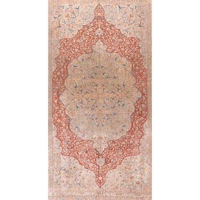 Antique Ivory Tabriz Haji Jalili Persian Area Rug Wool 8'7'' x 12'7'' Ivory, Rust