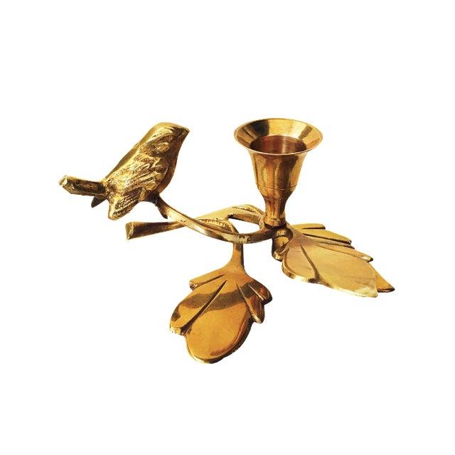 Vintage Brass Songbird Candleholder - Image 1 of 5