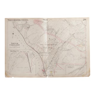 Vintage Hopkins Map of Croton on Hudson NY And Cortlandt For Sale