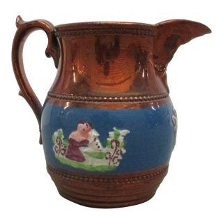 Vintage Lusterware Copper and Blue Ceramic Cramer With Handle For Sale