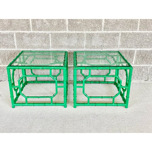 Green Vintage Hollywood Regency Style Faux Bamboo Side Table-A Pair For Sale - Image 8 of 11