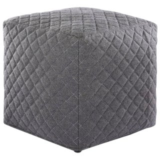Nikki Chu by Jaipur Living Sauve Gray Geometric Square Pouf For Sale