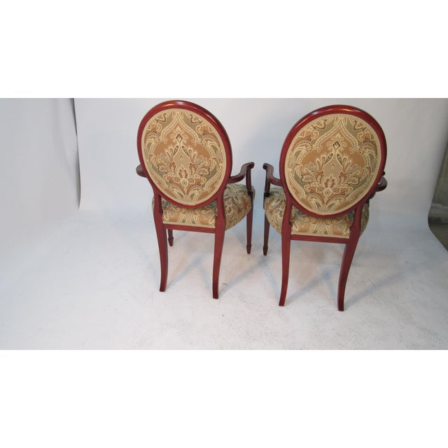 George Hepplewhite 1940s Vintage Joseph Gerte of Boston Mahogany Arm Chairs - a Pair For Sale - Image 4 of 12