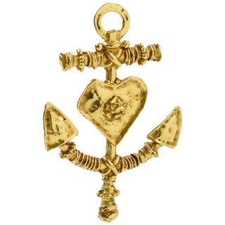 Christian Lacroix Paris Signed Large Gilt Metal Anchor Pin Brooch With Heart For Sale