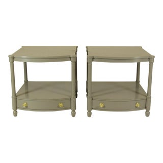 1950s Empire Baker FurnitureGray Lacquer End Tables - a Pair