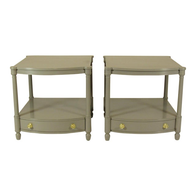1950s Empire Baker FurnitureGray Lacquer End Tables - a Pair For Sale