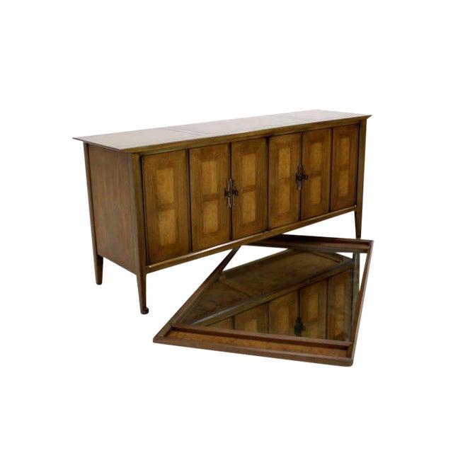 Mid Century Modern Burlwood Long Credenza Dresser Matching Mirror For Sale