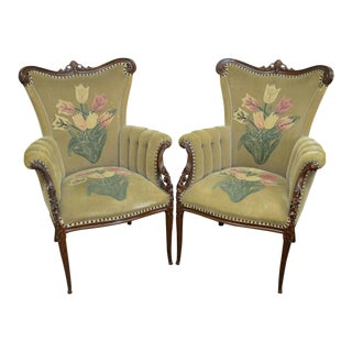 1940's Custom Pair of Hollywood Regency Fireside Chairs