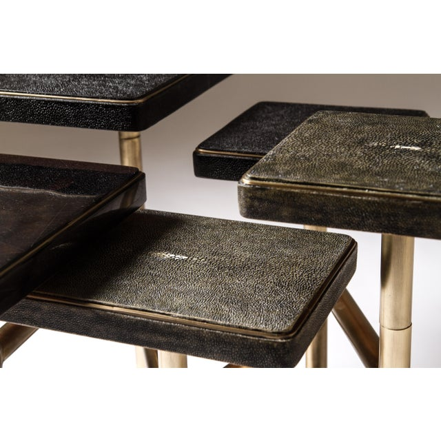 Early 21st Century Rotating 5-Top Coffee Table in Shagreen & Bronze-Patina Brass by Kifu Paris For Sale - Image 5 of 8